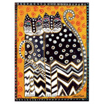 Laurel Burch Canvas Zig Zag Cats 12x16 Wall Art LB26004