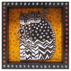 Laurel Burch 3-D Zig Zag Cats 8x8 Wall Art LB26014