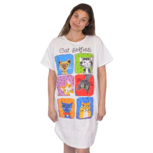 Cat Selfie Theme Sleep Shirt Pajamas 618OT