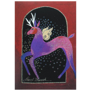 Laurel Burch Christmas Card Glitter Deer 10 Card Box C73759