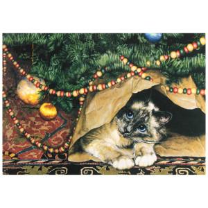 Cat Under Tree Christmas Card 10 Card Box C70087