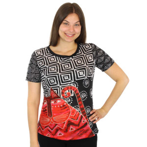 Laurel Burch Tee Shirt Red Feline LBT030