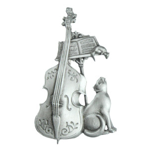 Bass Cello Music Cat Mouse Pewter Pin - 1879PP