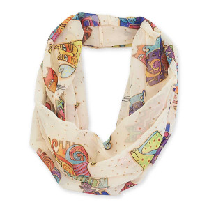 Laurel Burch Karly's Cats Artistic Infinity Scarf LBI203