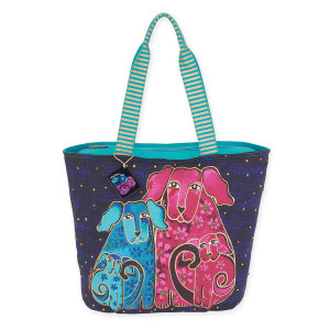 Laurel Burch Blossoming Pups Shoulder Tote Bag LB5561