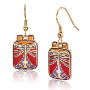 Toshio Laurel Burch Earrings Red Multi 5007