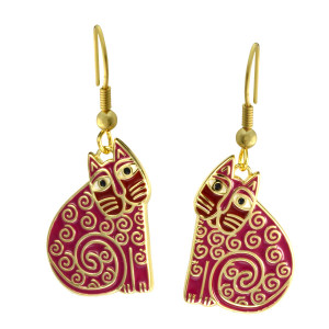 Jubilee Cat Laurel Burch Earrings Red 5037