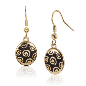 Jubilee Drop Laurel Burch Earrings Black-Gold 6017