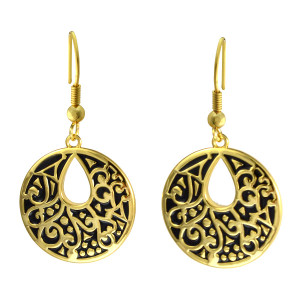 Harmony Laurel Burch Earrings Black-Gold 6025