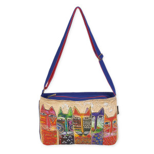 Laurel Burch Long Neck Cats Medium Crossbody LB5613