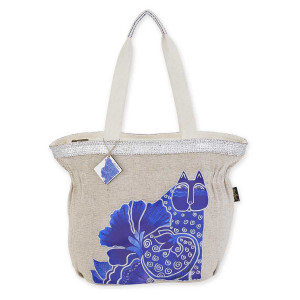 Laurel Burch Blossoming Felines Gathered Tote LB5692