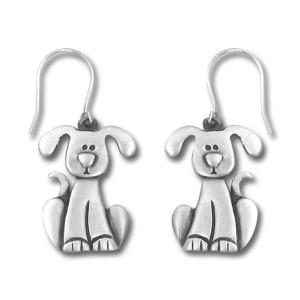 Dog with Drop Ears Pewter Drop Earrings 3997EFP