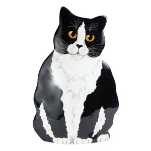 Black White Tuxedo Cat 11.5 Large Cat-Shape Vase 45303
