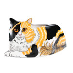 "Patches Calico 14"" Long Cat-Shape Planter Vase 45312"