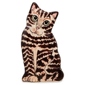 brown tabby 85 tall cat shape vase 45559