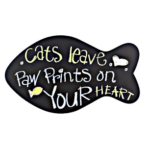 """Large Wooden """"Cats Leave Paw Prints on Your Heart"""" Wall Sign - 13639"""