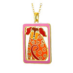 Dog Tails Laurel Burch Necklace RED - Silver 5074