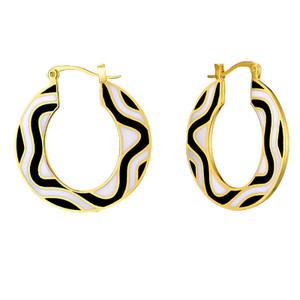 Delia Hoop Laurel Burch Black Gold Tone Earrings - 6068