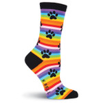 "Cat Socks ""Rainbow Stripe Paw Prints"" F15H063-01"