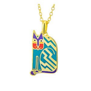 Aztec Cat Laurel Burch Necklace Blue - 5084