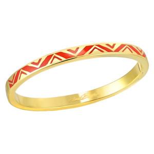 Rain Dance Red Gold-tone Laurel Burch Bangle Bracelet - 6053
