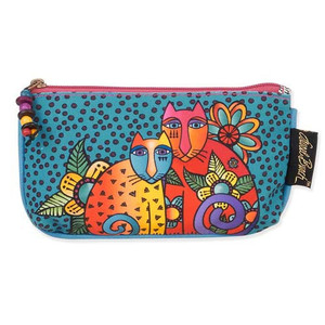 Laurel Burch Three in One 3 in 1 Cosmetic Bag Feline Clan Cat Dots Small