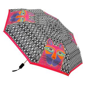 Laurel Burch Compact Folding Umbrella Fuchsia Whiskered Cat