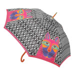 Laurel Burch Stick Umbrella Fuchsia Whiskered Cat