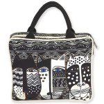 Laurel Burch Large Cosmetic Bag Wild Cat Black White