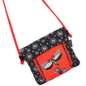 Laurel Burch Black White Dragonfly Red Flap Over Crossbody Tote