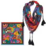 Laurel Burch Laurels Garden Cats Artistic Square Tassels Scarf