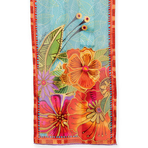 Laurel Burch Silk Scarf Quot Red Orange Florals Quot Lbs214