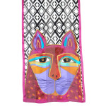 "Laurel Burch Silk Scarf ""Whiskered Cats"""