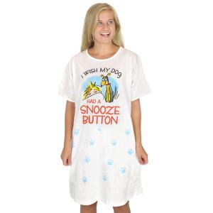 """Dog Theme Sleep Shirt Pajamas """"Wish Dog Had Snooze Button"""" - 378OT"""