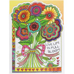 Laurel Burch Birthday Card - Live Life in Full Bloom : Front View