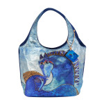 Laurel Burch Teal Mares Foiled Canvas Small Scoop Tote - LB5922