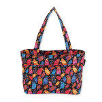 Laurel Burch Multi Feline Quilted Cotton Medium Shoulder Tote - LB6302