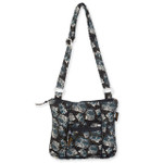 Laurel Burch Black White Polka Dot Wild Cats Quilted Cotton N/S Crossbody Bag LB6338