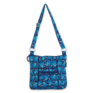 Laurel Burch Indigo Cats Quilted Cotton N/S Crossbody Bag LB6323