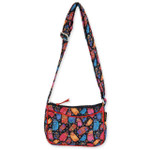 Laurel Burch Multi Feline Cats Quilted Cotton E/W Crossbody Bag LB6307