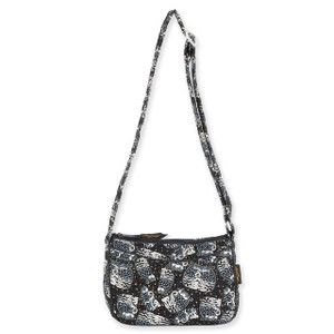 Laurel Burch Black White Polka Dot Wild Cats Quilted Cotton E/W Crossbody Bag LB6339