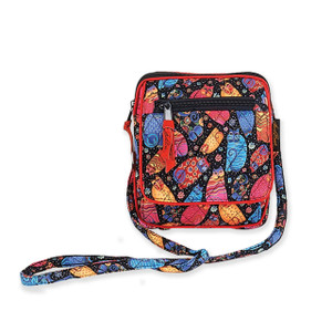 Laurel Burch Multi Feline Cats Quilted Cotton Small Crossbody Bag LB6306