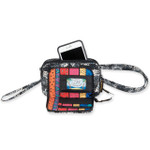 Laurel Burch Black White Polka Dot Wild Cats Quilted Cotton All in 1 Crossbody Tote Bag LB6341
