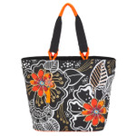 Laurel Burch White on Black Floral Large Shoulder Tote - LB6061