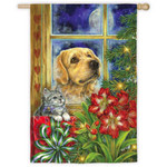 Peaceful Pet Christmas House Flag 132078