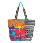 Laurel Burch Feline Family Shoulder Tote - LB6110