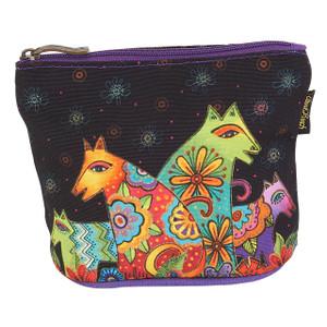 Laurel Burch Dog Cotton Canvas Cosmetic Bag Canine Clan - LB6300F