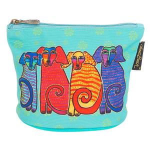 Laurel Burch Dog Cotton Canvas Cosmetic Bag Papillion Pups - LB6300A