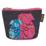 Laurel Burch Dog Cotton Canvas Cosmetic Bag Blossom Pups - LB6300B