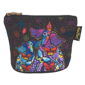Laurel Burch Dog Cotton Canvas Cosmetic Bag Mythical Dogs - LB6300C
